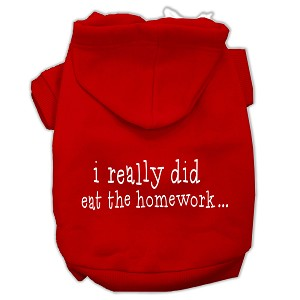 I really did eat the Homework Screen Print Pet Hoodies Red Size XS (8)